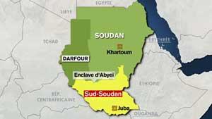 Carte du sud Soudan et du Darfour
