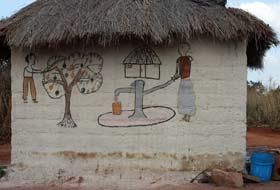Fresque de Makwacha, le village des femmes peintres, à 41 kms  de Lubumbashi @ Georges Nsenga Asani