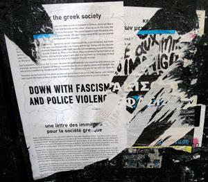 lettre d'immigrés affichée sur un mur en Grèce