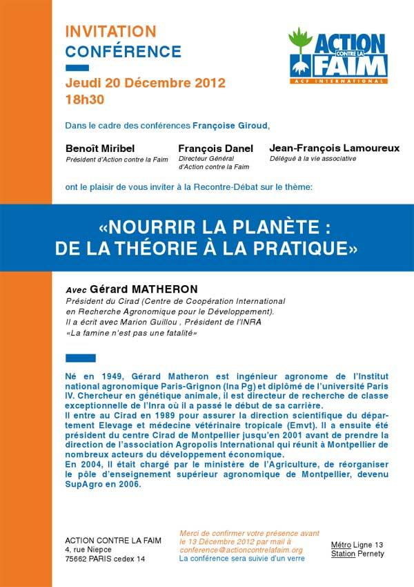 Nourrir la planète, conférence françoise Giroud