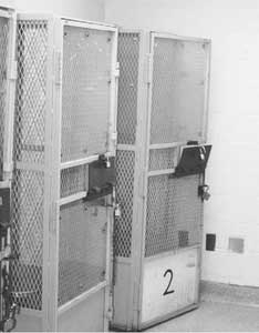 Dry cages holding cells (Salinas Valley State Prison)