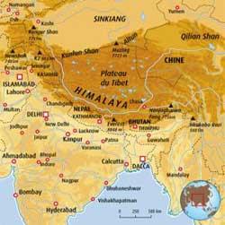 Carte de l'Inde-Himalaya