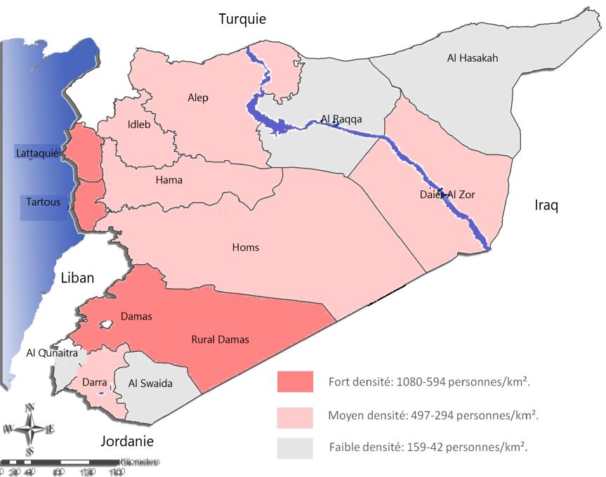 taux d'urbanisation dans les régions syriennes