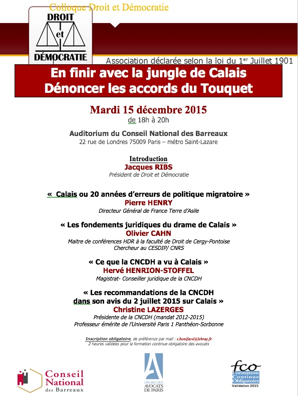 colloque-enfinir avec la jungle de Calais